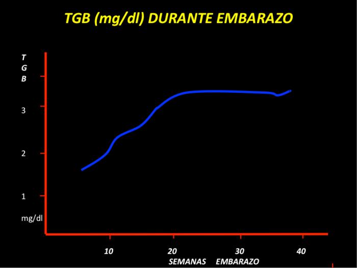 FIGURA 2. La creciente producción de estrógenos estimula la síntesis hepática de Proteína transportadora de hormona tiroidea (TGB), esto hace que los niveles de T4 total aumenten en embarazo.